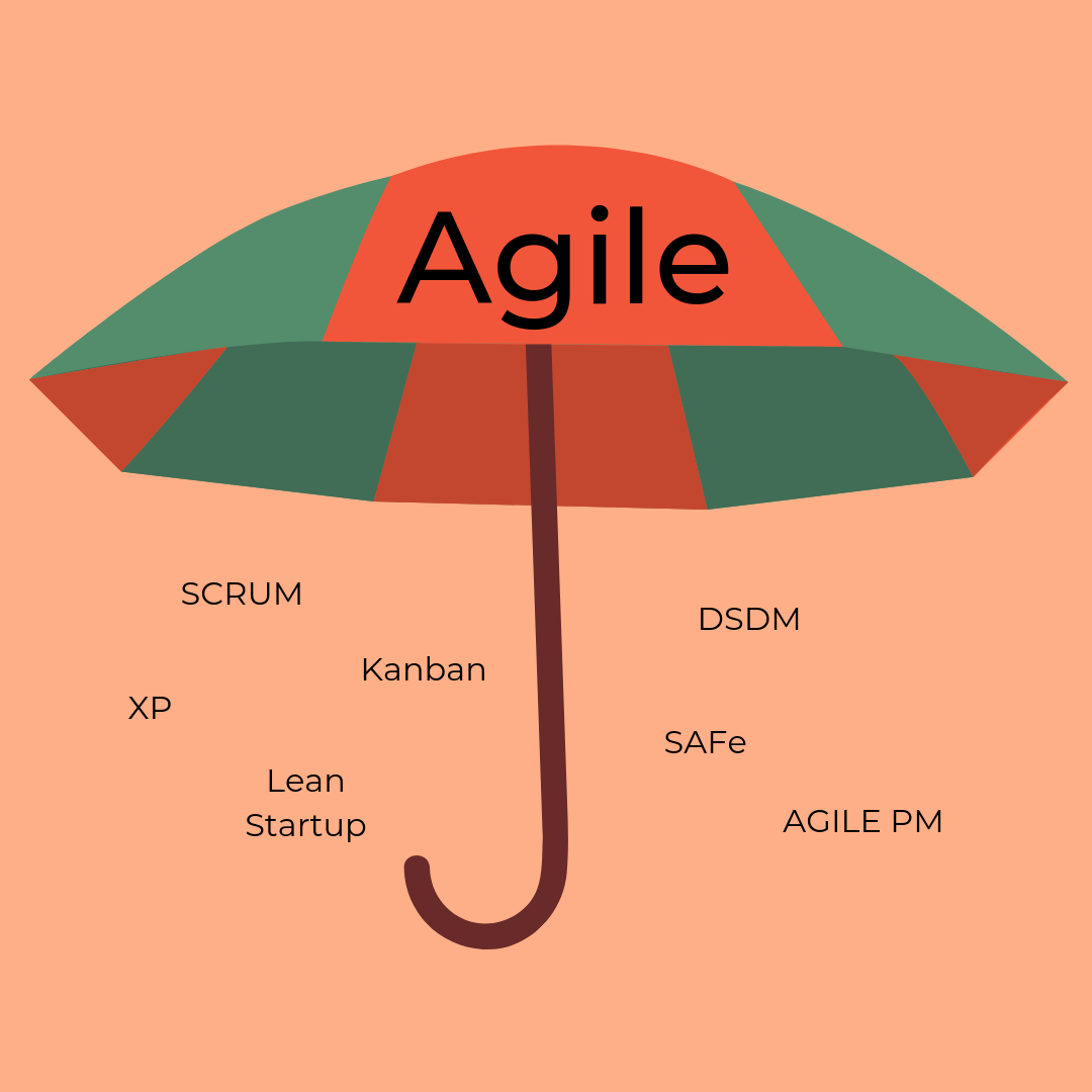Obrazek przedstawia Parasol Agile. Zwinne zarządzanie projektami wstęp do Agile.